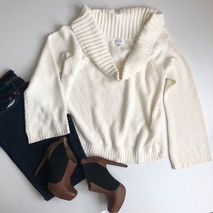 Crown & Ivy Cream Chunky Knit Sweater Cowl Neck XL